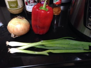 Scallions, peppers and onions